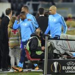 Patrice Evra sent off before Europa League match after appearing to kick out at Marseille supporter