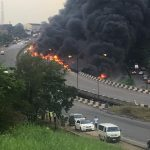 Fuel Tanker Explodes Along Lagos Ibadan Expressway 54 Vehicles Completely Burnt