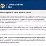 US Embassy Nigeria: Indefinite Suspension of 'Dropbox' Process for Renewals