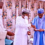 Matawalle Meets Buhari, Presents Specimens of Gold and Other Precious Natural Minerals in Abuja