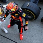 Lewis Hamilton Celebrates His Victory in Japan With Red Bull's Verstappen